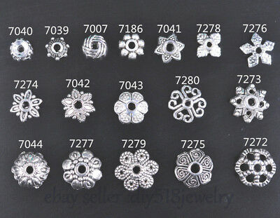 50 Pieces Tibetan Silver spacer Bead Caps DIY Jewelry Bracelet Necklace 17 style