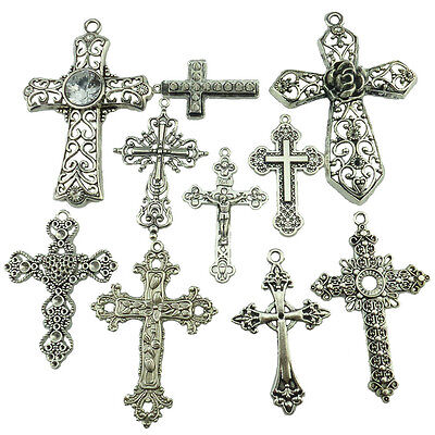 10PCS MIX Alloy Vintage Antique Silver Tone Faith Religious Large Cross Pendant