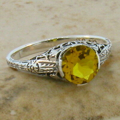 Lab Citrine Antique Art Deco Style .925 Sterling Silver Filigree Ring Size 10,#4