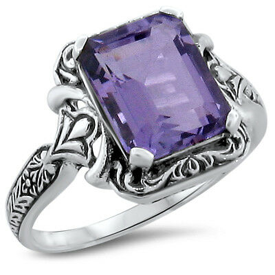 Genuine Brazilian Amethyst .925 Sterling Silver Antique Style Ring,  #195