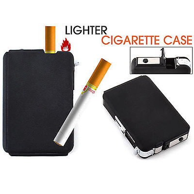 Awesome Automatic Windproof Lighter Box Ejection Butane Cigarette Case Holder