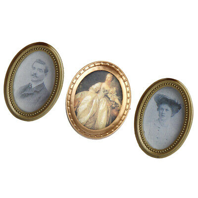 3pc Dolls House Miniature Victorian Gentleman Ladies Picture in Oval Photo Frame