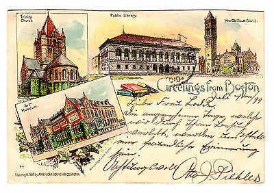 um 1905, Colorlithographie, Greetings from Boston, Verlag Armstrong & Co.