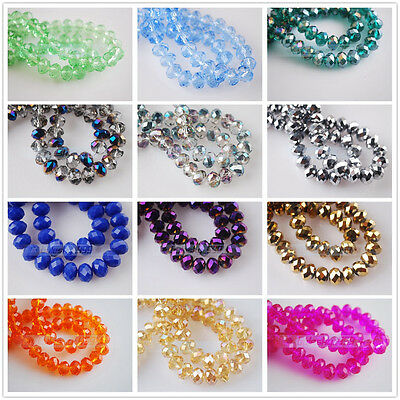 200pcs 3x4mm Faceted Rondelle Crystal Glass DIY Craft Finding Loose Spacer Beads