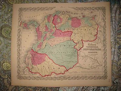 Antique 1855 Venezuela Ecuador Colombia South America Johnson Handcolored Map Nr