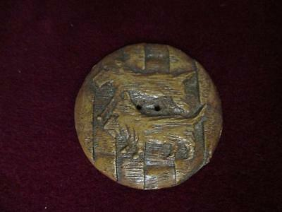 Large Carved Wood Scottie Scotty Dog Button  aa