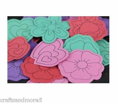 28 x Foam Large Flowers / Hearts Assorted Colours - 60mm-75mm