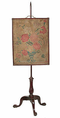SWC-Chippendale Carved Mahogany Pole Screen with Needlework panel, c.1780