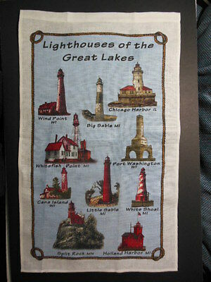 "1 NWT LIGHTHOUSES OF THE GREAT LAKES  Souvenir Linen Towel, 16.5"" x 26"""