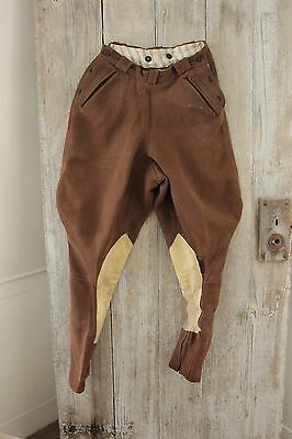 Vintage French pants Riding breeches Equestrian wool cotton suede trousers 26 W