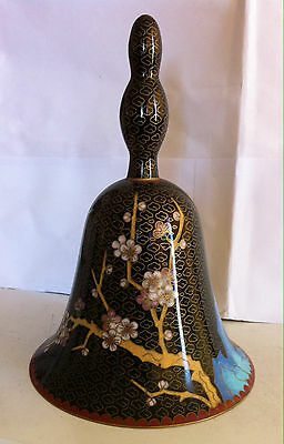 "Vintage Chinese Oriental Black Cloissone Porcelain Gold Etching Bell 7.5"" Tall"