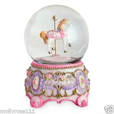 Large Pink Horse Carousel Musical Snowglobe Glitter Roses Water Ball Christening