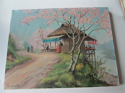 """(1) Vintage Japanese Or Chinese Painting;  Oil On Canvas Painting, """"j Swamoto"""""""