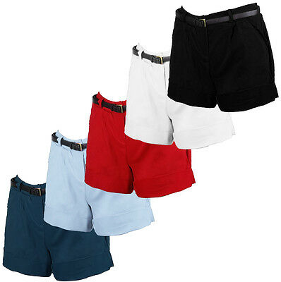 Ladies Coloured Belted With Pockets Shorts Casual Summer Mini Stretch Hot Pants