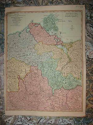 Huge Antique 1794 Brandenburg Pomerania Mecklenburg Magdeburg Germany Copper Map