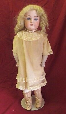 "Large Antique 22"" Kestner German #154 Bisque Head Leather Body Jointed Girl Doll"