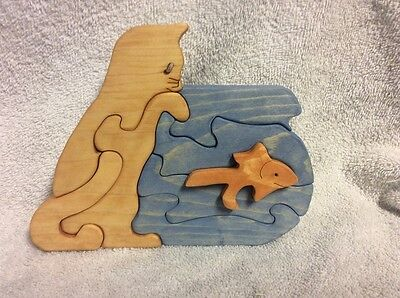Wooden Cat with Fishbowl -  Scroll Saw Puzzle - Handmade - 8 Pieces - Stained