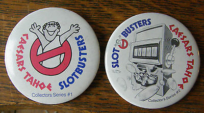 Vintage 1980's Caesars Tahoe #1 & #2 Collector Series Pinback Slot Busters Badge