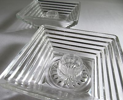 """LOT 2 VINTAGE ANCHOR HOCKING GLASS CANDLE HOLDERS - MANHATTAN PATTERN - 4 3/8"""""""