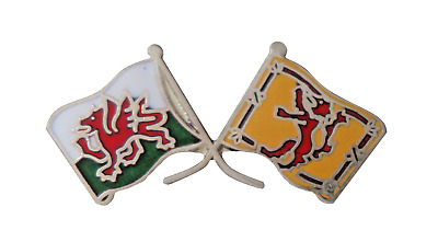 Scotland Lion Rampant Flag & Wales Flag Friendship Courtesy Pin Badge - T743