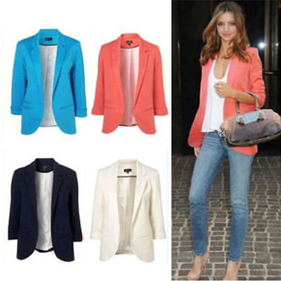Women Business Suit Jacket Blazer Casual Slim OL Coat Casual Outwear Candy Color