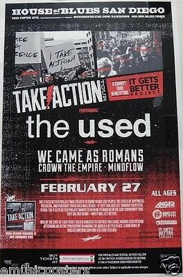 """The Used / We Came As Romans """"take Action 2013 Tour"""" San Diego Concert Poster"""