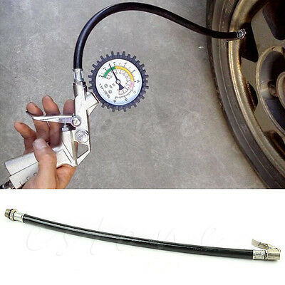 Motorcycle Bicycle Car Flexible Clip On Air Tyre Tire Chuck Inflator Hose