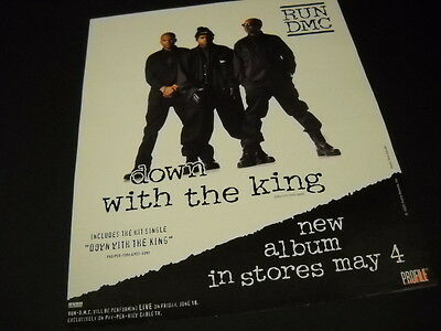 RUN DMC are DOWN WITH THE KING new album 1993 PROMO POSTER AD mint condition