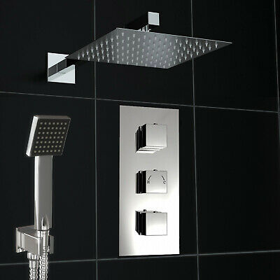 Concealed Chrome Thermostatic 2 Way Mixer Shower Square Valve 200mm Cube Set