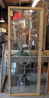"Vintage Decorative ""Leaded"" Glass Window in Reclaimed Wood Frame"
