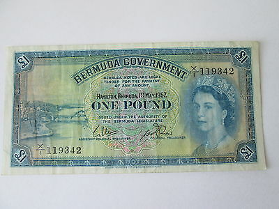 1957 Bermuda Government Note, One Pound, About Uncirculated (Au) Condition