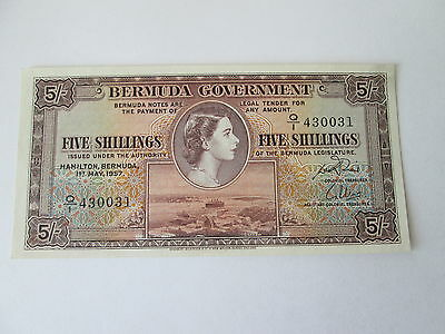 1957 Bermuda Government Note, Five Shillings, About Uncirculated (Au) Condition