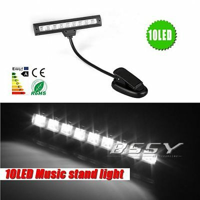 Light Reading Book Kindle Music Stand LED Light Lamp Clip-on 10 LED + USB Cable