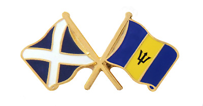 Barbados Flag & Scotland Flag Friendship Courtesy Pin Badge - T1204