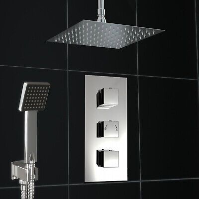 Concealed Chrome Thermostatic 2 Way Mixer Shower Square Valve 200mm Ceiling Set