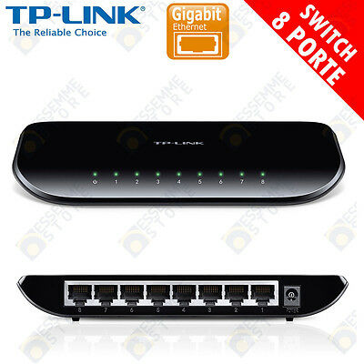 SWITCH ETHERNET 8 PORTE GIGABIT 10/100/1000 Mbps TPLINK SG1008D 8 PORTE LAN
