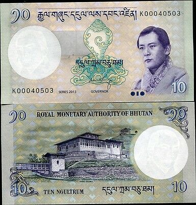 Bhutan 10 Ngultrum 2013 P 29 New Signature Unc