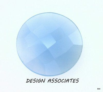 Aqua  Blue Chalcedony 18 Mm Round Checkerboard Top Outstanding Blue Color