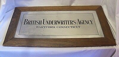 Old LARGE British Underwriters Agency Hartford, Conn. Insurance Advertising Sign