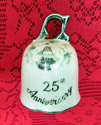 Vintage Lefton China Porcelain 25Th Silver Anniversary Dinner Bell W Silver Gilt