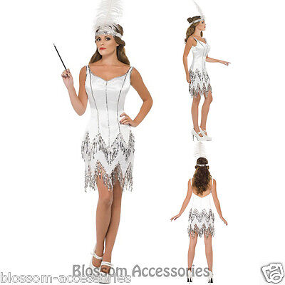 CL452 Fever Flapper Dazzle Dress White 1920s Roaring Costume Charleston Gatsby