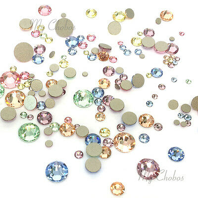 144 Mixed Sizes Swarovski 2058/2088 flatbacks rhinestones BABY Colors Mix