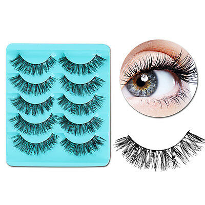 5 Pairs/set Handmade Black Curly Thick Crisscross Makeup False Fake Eyelash