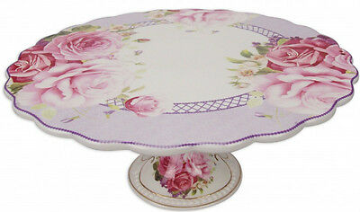 Beautiful China Shabby Chic Cabbage Rose Cake Stand  ~ Home Decor