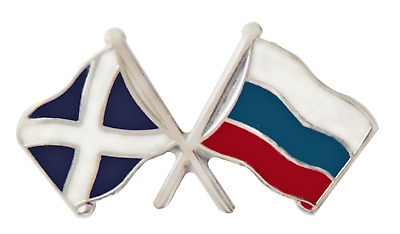 Russian Federation Russia & Scotland Flag Friendship Courtesy Pin Badge - T286A