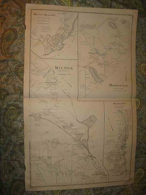 Antique 1892 Salmon Falls Milton & Mills Middleton Barrington New Hampshire Map