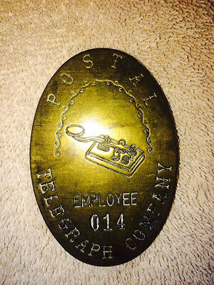 Vintage POSTAL TELEGRAPH COMPANY EMPLOYEE 014 BRASS BADGE