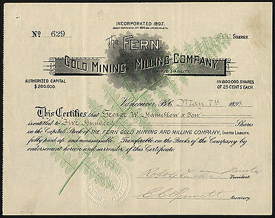 British Columbia: Fern Gold Mining and Milling Co., 1898