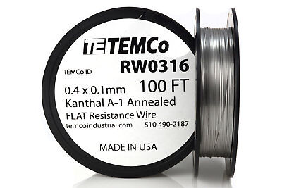TEMCo Flat Ribbon Kanthal A1 Wire 0.4mm x 0.1mm 100 Ft Resistance A-1