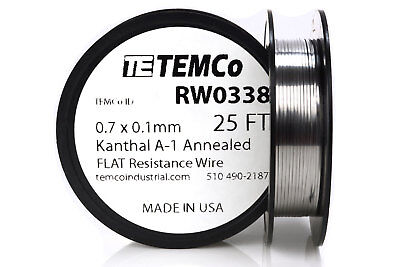 TEMCo Flat Ribbon Kanthal A1 Wire 0.7mm x 0.1mm 25 Ft Resistance A-1